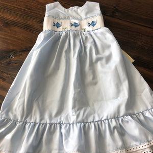 Fantaisie Kids Blue Smocked Fish Dress Size 6